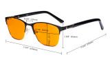 Damen Blaulichtblockierung -Brille mit orange getönten Filterglas zum Schlafen. - Damen Anti Blue Ray Brillen - LX19015-Lila-BB98