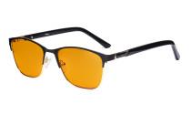 Damen Blaulichtblockierung -Brille mit orange getönten Filterglas zum Schlafen. - Damen Anti Blue Ray Brillen - LX19015-Schwarz-BB98