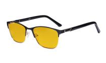 Blaulichtblockierung -Brille Damen mit bernsteinfarbener Filterglas - Damen Anti Blue Ray Brillen. -LX19015-Schwarz-BB90