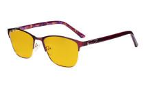 Blaulichtblockierung -Brille Damen mit bernsteinfarbener Filterglas - Damen Anti Blue Ray Brillen.-LX19015-Rot-BB90
