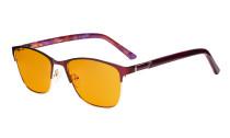Damen Blaulichtblockierung -Brille mit orange getönten Filterglas zum Schlafen. - Damen Anti Blue Ray Brillen - LX19015-Rot-BB98