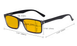 Computer Glasses - Blue Light Blocking Readers with Amber Tinted Filter Lens - Stylish Reading Glasses  - Black HP802
