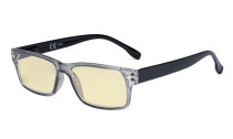 Blue Light Blocking Reading Glasses Women Men with Yellow Filter Lens - Computer Readers - Grey TM108