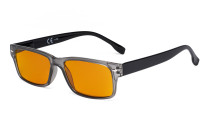 Blue Light Blocking Reading Glasses Women Men with Orange Tinted Filter Lens for Sleeping - Computer Readers - Grey DS108