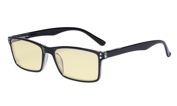 Computer Glasses - Blue Light Blocking Readers with Yellow Filter Lens - Stylish Reading Glasses - Black TM802