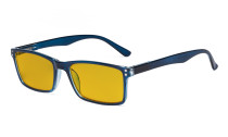 Computer Glasses - Blue Light Blocking Readers with Amber Tinted Filter Lens - Stylish Reading Glasses  - Blue HP802