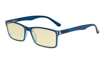 Computer Glasses - Blue Light Blocking Readers with Yellow Filter Lens - Stylish Reading Glasses  - Blue TM802