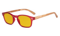 Blue Light Blocking Computer Reading Glasses - Amber Tinted Filter Lens Readers with Bamboo-look Temples - Red Frame HP034