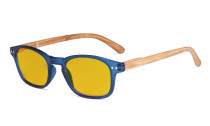 Blue Light Blocking Computer Reading Glasses - Amber Tinted Filter Lens Readers with Bamboo-look Temples  - Blue Frame HP034