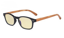 Blue Light Blocking Computer Reading Glasses - Yellow Filter Lens Readers with Bamboo-look Temples - Black Frame TM034