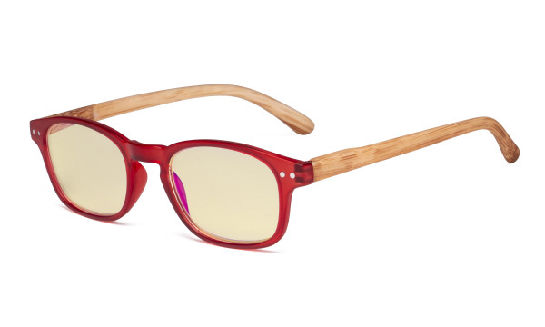 Blue Light Blocking Computer Reading Glasses - Yellow Filter Lens Readers with Bamboo-look Temples - Red Frame TM034