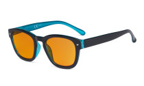 Blue Light Blocking Reading Glasses with Orange Tinted Filter Lens for Sleeping - Anti Blue Ray Computer Readers - Black-Blue DS089