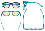 Blue Light Blocking Reading Glasses with Yellow Filter Lens - Anti Blue Ray Computer Readers - Black-Blue TM089