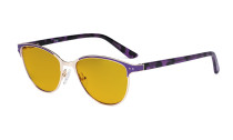 Ladies Blue Light Blocking Glasses with Amber Tinted Filter Lens - Cateye Computer Eyeglasses Women - Anti Blue Ray Eyewear - Purple LX19009-BB90
