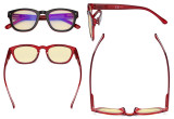 Blue Light Blocking Reading Glasses with Yellow Filter Lens - Anti Blue Ray Computer Readers - Black-Red TM089