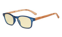 Blue Light Blocking Computer Reading Glasses - Yellow Filter Lens Readers with Bamboo-look Temples  - Blue Frame TM034