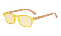 Blue Light Blocking Computer Reading Glasses - Yellow Frame Filter Lens Readers with Bamboo-look Temples  - Yellow Frame TM034