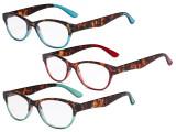 Reading Glasses Set of 3 Great Value Spring Hinge Readers Women Cat-eye Glasses for Reading R074D-Mix
