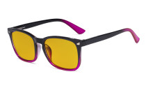 Blue Light Blocking Reading Glasses with Amber Tinted Filter Lens - Square Nerd Computer Readers - Black-Purple HP1801