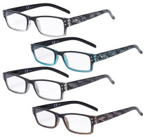 Reading Glasses 4 Pack Fashion Spring Hinge Readers Great Value Quality Glasses Women Reading R012B