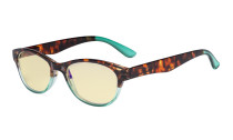 Ladies Blue Light Blocking Reading Glasses with Yellow Filter Lens - Cat-eye Computer Readers Women - Tortoise/Green TM074D