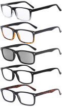 Men's Reading Glasses - 5 Pairs Readers for Men - Includes Reading Sunglasses R899X