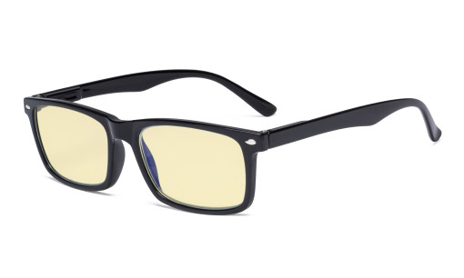 Blue Light Blocking Reading Glasses Men Women with Yellow Filter Lens - Comfort Computer Readers - Black TMCG899