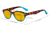 Ladies Blue Light Blocking Reading Glasses with Amber Tinted Filter Lens - Cat-eye Computer Readers Women - Tortoise/Blue HP074D