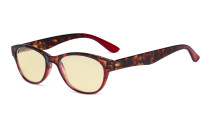 Ladies Blue Light Blocking Reading Glasses with Yellow Filter Lens - Cat-eye Computer Readers Women - Tortoise/Red TM074D