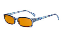 Blue Light Blocking Reading Glasses Women with Orange Tinted Filter Lens for Sleeping - Ladies Pattern Arm Computer Readers - Blue DSRT1803