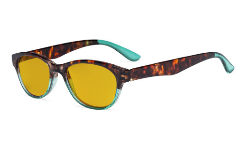 Ladies Blue Light Blocking Reading Glasses with Amber Tinted Filter Lens - Cat-eye Computer Readers Women - Tortoise/Green HP074D