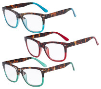 Ladies Reading Glasses - 3 Pack Large Lens Stylish Readers for Women R080D