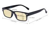 Blaulichtblockier Lesebrille Damen Herren Computerbrille mit gelber Filterglas - Grau TM108