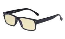 Blaulichtblockier Lesebrille Damen Herren Computerbrille  mit gelber Filterglas  - Schwarz TM108