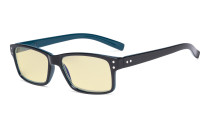 Blue Light Blocking Reading Glasses with Yellow Filter Lens - Vintage Computer Readers Women Men - Black/Blue Arm TMCG032