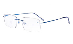 Frameless Reading Glasses for Men Reading - Rectangle Rimless Reader Eyeglasses Blue RWK9904