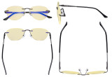 Computer Glasses Women - Blue Light Blocking Readers with Yellow Filter Lens - Cat-eye Rimless Reading Glasses,Gunmetal TMWK9901A