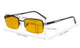 Blue Light Blocking Glasses with Amber Tinted Filter Lens - Half-Rim Computer Eyeglasses Women Men - Gunmetal HP15014