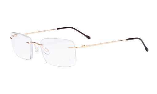 Frameless Reading Glasses for Men Reading - Rectangle Rimless Reader Eyeglasses Gold RWK9904