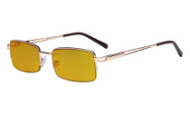 Blue Light Blocking Glasses with Amber Tinted Filter Lens - Half-Rim Computer Eyeglasses Women Men - Gold HP15014