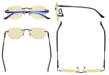 Computer Glasses Women - Blue Light Blocking Readers with Yellow Filter Lens - Cat-eye Rimless Reading Glasses,Black TMWK9901A