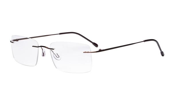 Frameless Reading Glasses for Men Reading - Rectangle Rimless Reader Eyeglasses Brown RWK9904