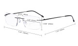 Frameless Reading Glasses for Men Reading - Rectangle Rimless Reader Eyeglasses Brown RWK9904