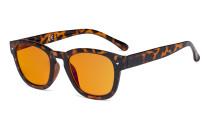 Blaulichtblockierung Brille mit orange getönter Filtergläser zum Schlafen - Anti Blue Ray Computer Brillen -Schildpatt -BB98 Glas DS089