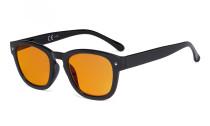 Blaulichtblockierung Brille mit orange getönter Filtergläser zum Schlafen - Anti Blue Ray Computer Brillen -Schwarz-BB98 Glas DS089