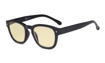 Blaulichtblockierung Brille mit gelber Filtergläser - Anti Blue Ray Computer-Brille Schwarz-BB60 Glas TM089
