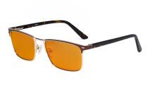 Blaulichtblockierung Brille Damen Herren mit orange getönten Filterlgläser zum Schlafen - Anti Blue Ray Computer Brillen - Braun -BB98 Glas LX19010-BB98