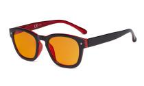 Blaulichtblockierung Brille mit orange getönter Filtergläser zum Schlafen - Anti Blue Ray Computer Brillen -Schwarz / Rot-BB98 Glas DS089