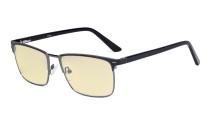 Blaulichtblockierung Brille Damen Herren mit gelber Filtergläser - Anti Blue Ray Computer Brille -Schwarz-BB60 Glas LX19010-BB60