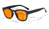 Blaulichtblockierung Brille mit orange getönter Filtergläser zum Schlafen - Anti Blue Ray Computer Brillen -Schwarz / Blau-BB98 Glas DS089